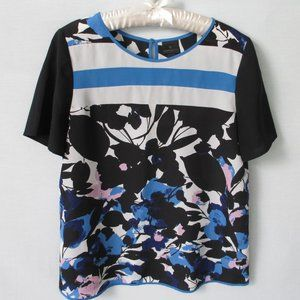Worthington black floral short sleeve poly blouse